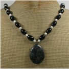 Handmade BLACK LABORADITE AGATE FRESH WATER PEARLS NECKLACE