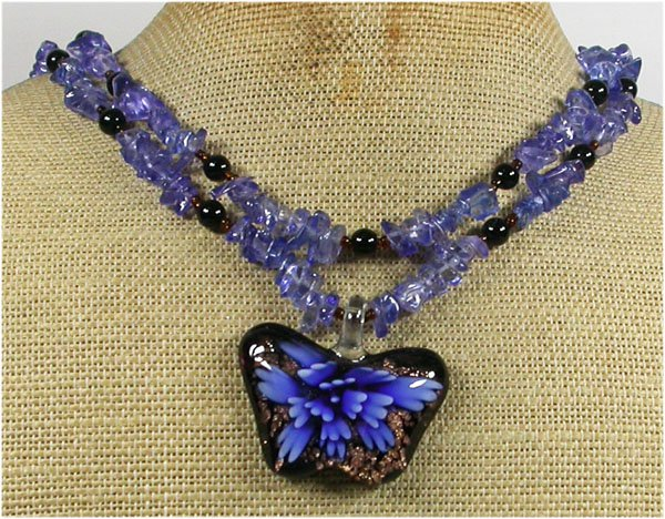 Handmade BUTTERFLY LAMPWORK BLUE QUARTZ CRYSTAL 2ROW NECKLACE