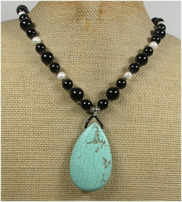 Handmade TURQUOISE & BLACK AGATE & FW PEARLS NECKLACE