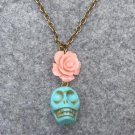 Handmade TURQUOISE SKULL & PINK RESIN ROSE NECKLACE