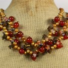 Handmade RED AGATE TIGER EYE FRESH WATER PEARLS NECKLACE