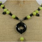 Handmade NATURAL BLACK AGATE & OLIVE JADE NECKLACE