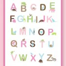 Fun and Colorful Alphabet Poster - pinks and brown colors