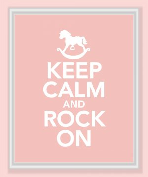 Keep Calm and Rock On Print in pink