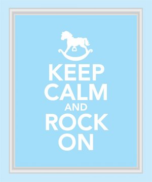 Keep Calm and Rock On Print in blue