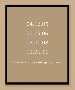 Personalized print with Important dates - Weddings, Births, Engagements, Graduation -etc.