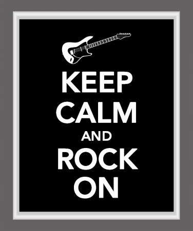 Keep Calm and Rock On Print with guitar