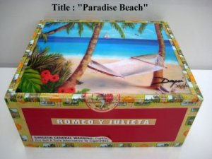 Genuine Wooden Cigar Box w/artworks. Dozen Art for sell