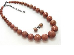 N/E SET / LUCITE BEAD / 17 INCH / EXT / NICKEL AND LEAD FREE / PATINA
