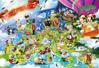 D-1000-420 Mickey Mouse Fantastic Europe (Japan Tenyo Disney Jigsaw Puzzle)