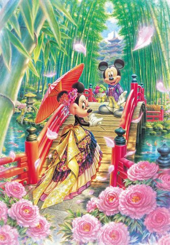 D-1000-451 Mickey Minnie Mouse Modern Wedding (Japan Tenyo Disney Jigsaw Puzzle)