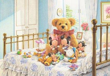D-1000-227 Disney Babies Mickey Minnie n Bear (Japan Tenyo Disney Jigsaw Puzzle)