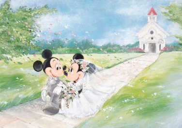 D-108-841 Disney Minnie Mickey Church Wedding (Japan Tenyo Disney Jigsaw Puzzle)