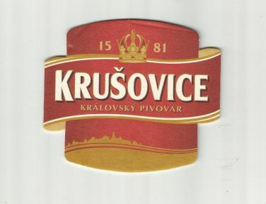 BREWERY KRUSOVICE CZECH REPUBLIC ADVERTISING BEER MAT COASTER