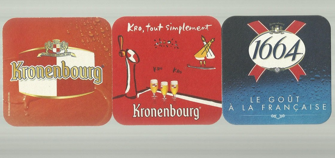 THREE FRENCH FRANCE KRONENBOURG BEER MAT COASTERS