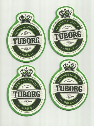 TUBORG GREEN BEER FOUR ADVERTISING BEER MATS COASTERS COPENHAGEN DENMARK
