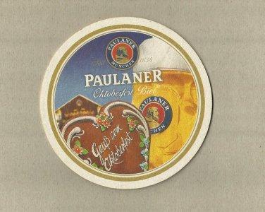 PAULANER BEER MUNICH BREWERY OKTOBERFEST BREWER GERMAN ADVERTISING BEER MAT COASTER