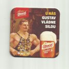 LITOVEL CZECH BEER U NAS GUSTAV VLADNE SILOU ADVERTISING BEER MAT COASTER