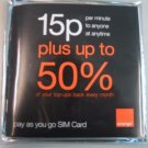 ORANGE UK GSM  PREPAID SIM CARD