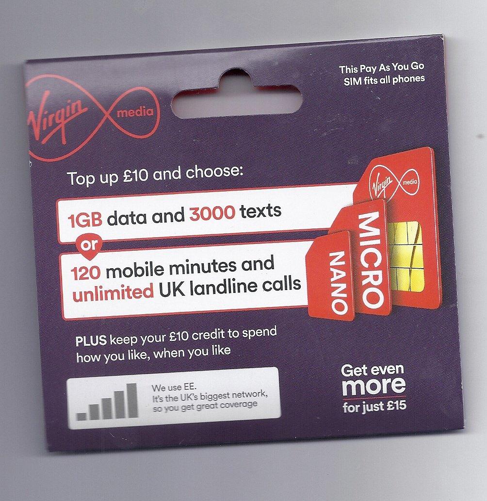 UK VIRGIN MEDIA PAY AS YOU GO TRI CUT GSM SIM CARD