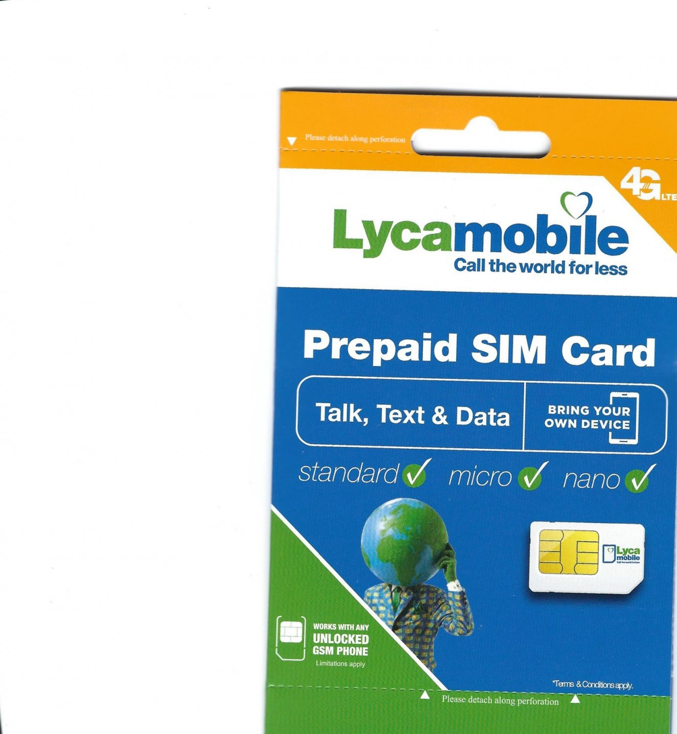 5 Lycamobile 3 in 1 prepaid gsm sim cards