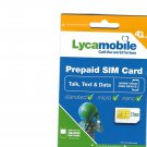 20 Lycamobile 3 in 1 prepaid gsm sim cards