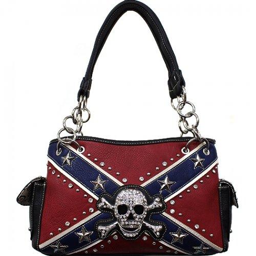 Rebel Flag w/Skull & Crossbones Shoulder Bag