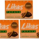 3 bars Original Likas Papaya Skin Whitening Lightening Herbal Soap -