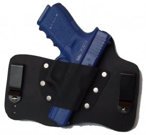 FoxX Leather & Kydex IWB Holster Compatible with Glock 19,23 and 32 Hybrid Holster RH Black