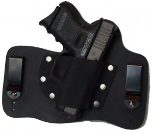 FoxX Leather & Kydex IWB Holster Compatible with Glock 26, 27 and 33 Hybrid Holster Black RH