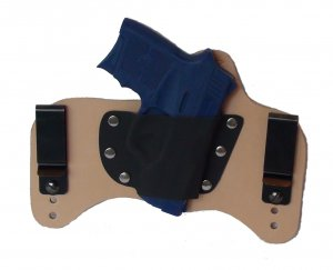 FoxX Leather & Kydex IWB Holster S&W Bodyguard w/laser .380 Hybrid Holster Natural/Tan