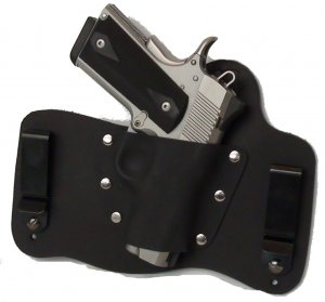 FoxX Leather & Kydex IWB Hybrid Holster Kimber 1911 Ultra Carry II & TLE RH Blac