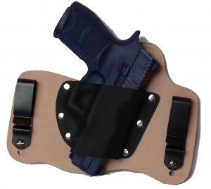 FoxX Leather & Kydex IWB Hybrid Holster Sig Sauer P250c 9, 40 & 45 RH Natural