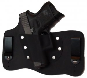 FoxX Leather & Kydex IWB Holster Glock 26, 27 and 33 Hybrid Holster Left Hand
