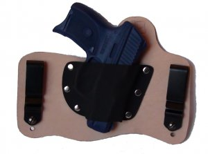 FoxX Leather & Kydex IWB Holster Ruger LC9 Hybrid Holster RH Natural/Tan