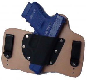 FoxX Leather & Kydex IWB Holster Glock 36 Hybrid Holster RH Natural/Tan .45 cal
