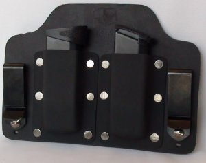 FoxX Leather & Kydex IWB Double Magazine Holster Carrier M&P Shield 9MM & .40cal