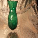 Green antique vintage depression glassware vase