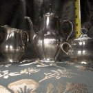 antique vintage silver over porcelain tea set