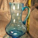 Blue glass pitcher depression antique vintage