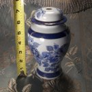 Made in Japan vintage antique ceramic blue white and gold hand painted lamp