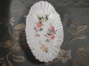 Hand Painted floral porcelain antique vintage scalloped dish