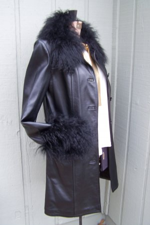 Womens New Black Leather 3/4 Length Coat with Tibetan Lamb Trim Size Small
