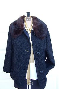 JUST REDUCED Vintage Black Faux Persian Lamb Brown Detachable Fur Collar Size Me