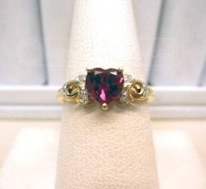 10KT Gold Ring with Heart Shape Ruby Color stone and Diamond Accents size 7.25