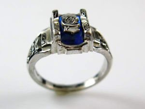 Jostens Vintage 1982 Silvertone & Blue Topaz Class Ring sz 6