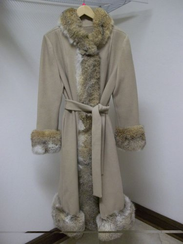 Cuddlecoat NY Brand Vintage Size S/M Tan Wool Coat With Fur Trim