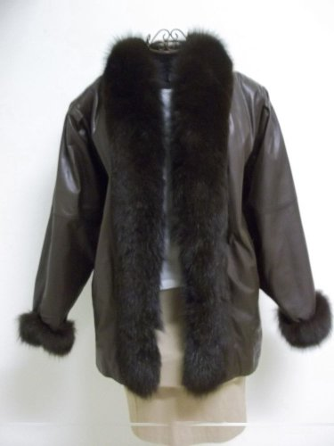 Brown Leather Suzette International Brand Brown Fur Trim Cuffs & Collar Sz Large