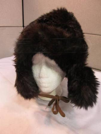 REDUCED Unisex Soft Warm Brown Russian Rabbit Fur Winter Hat with Ear Flaps