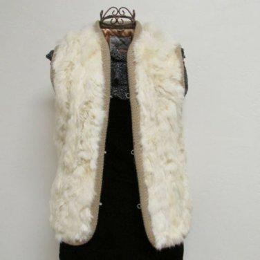 Luxuriously Soft Vintage Cream Rabbit Vest By Elan Size Medium